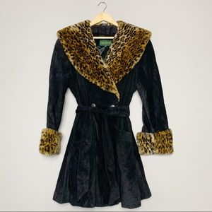 Suede and faux fur leopard print princess coat